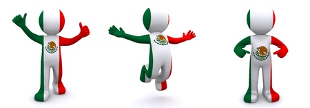 3d character textured with flag of Mexico isolated on white background photo