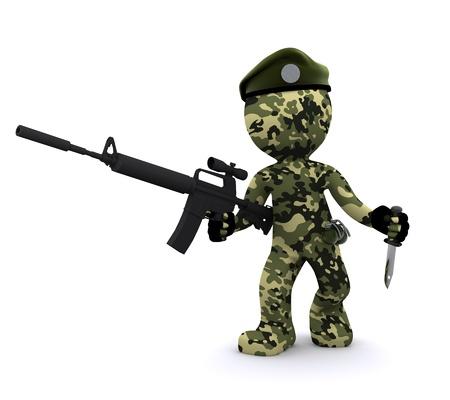 soldado 3D aislado sobre fondo blanco  Foto de archivo
