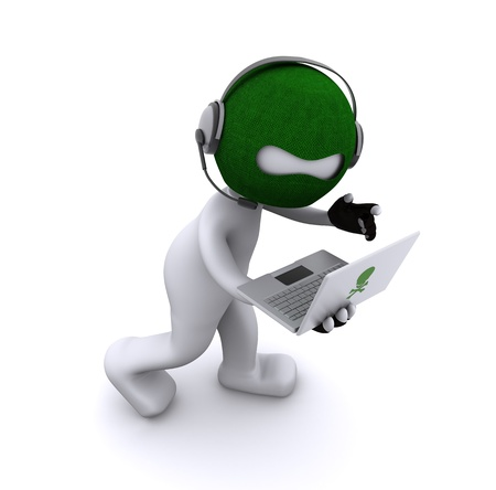spamming: Cartoon hacker with laptop. Isolated Stock Photo