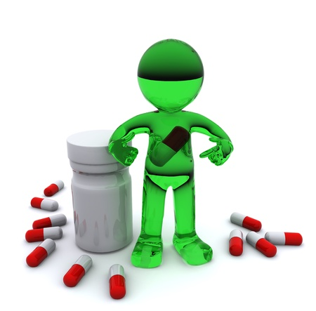 3d character with pill inside stomach. Isolated photo
