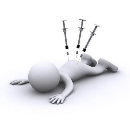 infirmi�re seringue: personnage 3D avec la seringue. Isol�