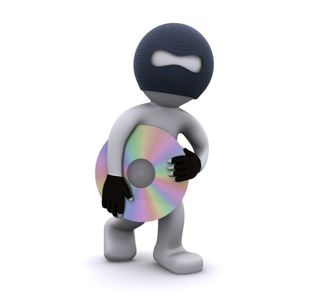3d character stealing cd. Computer piracy concept. Isolated photo