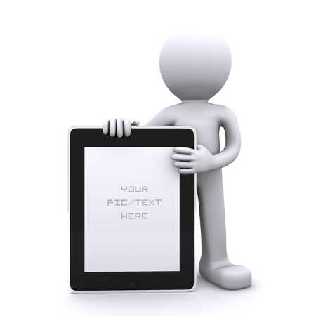 blank tablet: 3D man holding a blank tablet pc. Advertising concept. Isolated