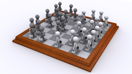 A Chess board of Business people. Isolated photo