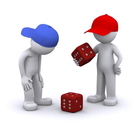 dados: 3D caracteres jugando dados. Aislado