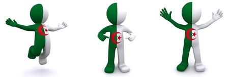 3d character textured with flag of Algeria isolated on white background photo