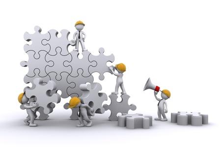 trabajo de equipo: Construcci�n de un rompecabezas el trabajo de equipo de negocios. Concepto de negocio de Buuilding. Aislado Foto de archivo
