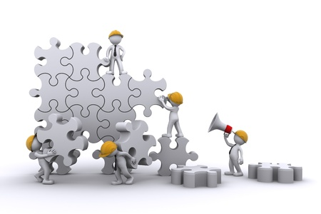 � teamwork: Lavoro di squadra affari costruire un puzzle. Buuilding business concetto. Isolato