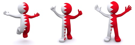 3d character textured with flag of Bahrain isolated on white background photo