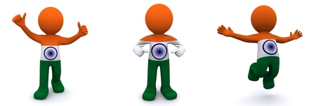 indian blue: 3d character textured with flag of India isolated on white background Stock Photo