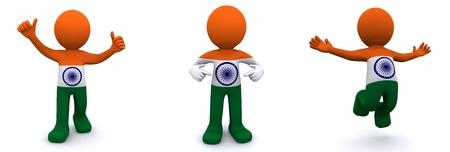 personaje 3D con textura con la bandera de la India aislada sobre fondo blanco Foto de archivo