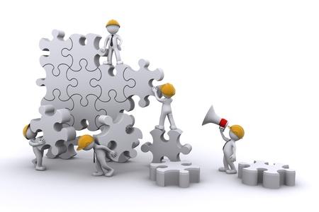 Business teamwerk gebouw een puzzel. Business ontwikkelen concept. Geïsoleerd