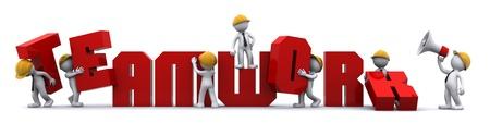 Concepto de fomento del trabajo en equipo de negocios. Aislado