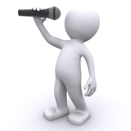 mic: 3d singer with microphone . Isolated