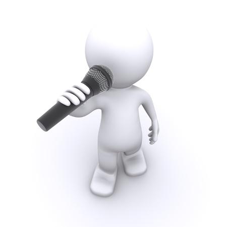 cantante 3D con micr�fono. Aislado