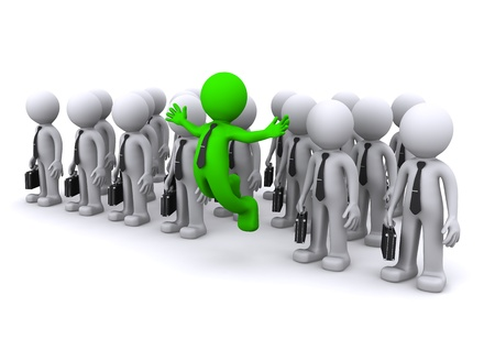uniqe 3d character standing out from the crowd  Stock Photo - 8486883