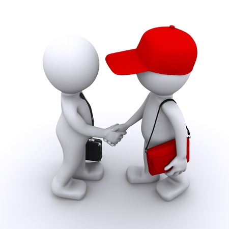 communication metaphor: 3d businessman shaking hands with customer