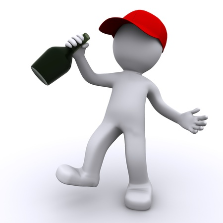 Drunk 3d character  with green bottle