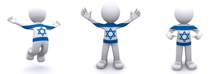 3d character textured with flag of Israel isolated on white background photo
