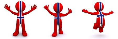 3d character textured with flag of Norway isolated on white background photo