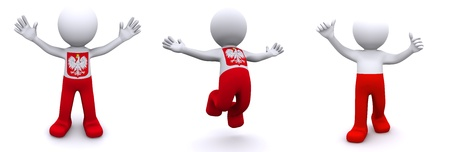 3d character textured with flag of Poland isolated on white background photo