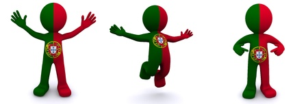 portuguese: 3d character textured with flag of Portugal isolated on white background Stock Photo