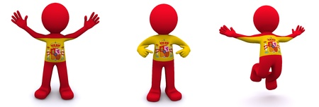 3d character textured with flag of Spain isolated on white background Stock Photo - 8486973