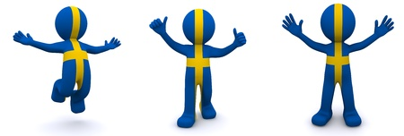 3d character textured with flag of Sweden isolated on white background photo