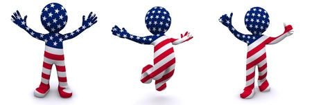 blue man: 3d character textured with flag of USA isolated on white background Stock Photo