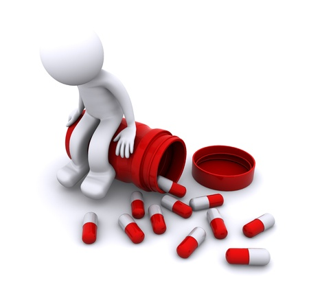 drugs pills: sick 3d character sitting on pill pot. isolated