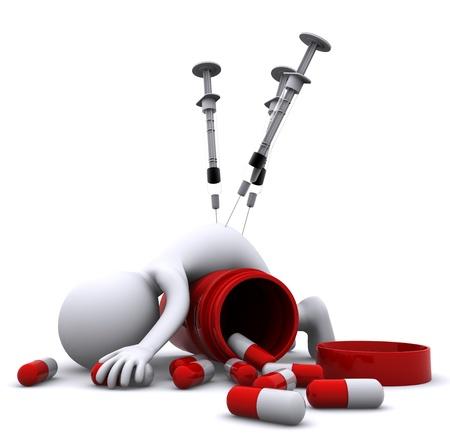 overdosering: Drugs overdosis concept. Geïsoleerd