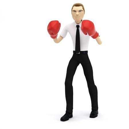 pugilist: Empresario 3D con guantes de boxeo. Aislado