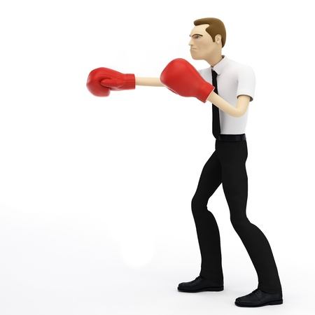 pugilist: 3D businessman with boxing gloves. Isolated Stock Photo