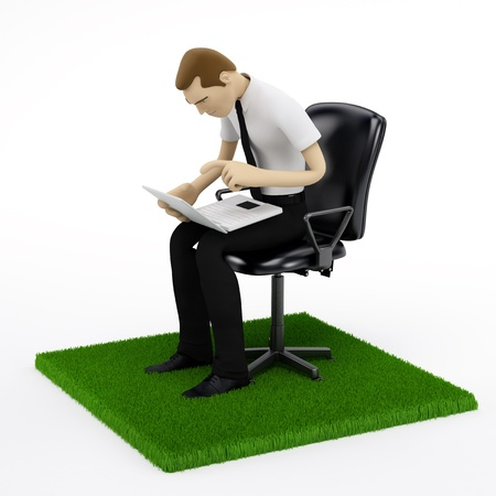 laptop outside: Young businessman with a laptop in chair on the piece of green field. isolated