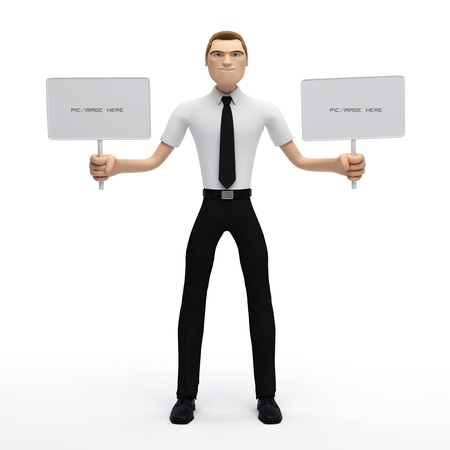 3D Businessman holding a blank sign. Isolated photo