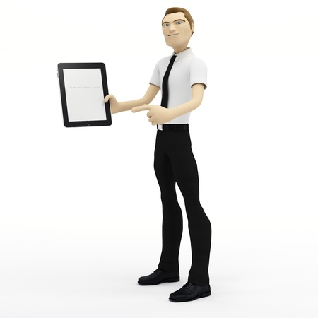 3D Businessman holding blank tablet pc. Advertising concept photo