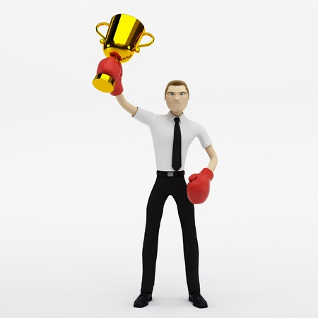 businessman winner with a trophy on white background  photo