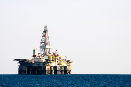 Oil Rig Drilling Platform in mediterranean sea photo