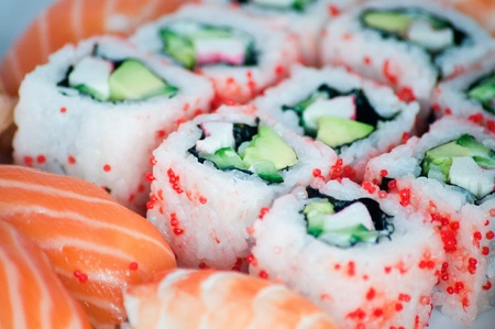 California maki and sushi close up. Possible to use as a background. photo