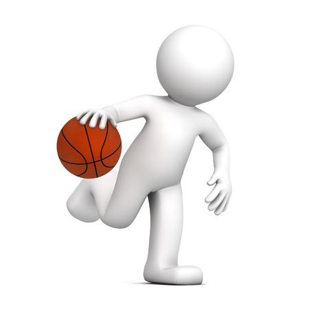 basketball player: 3D player isolatedon white background Stock Photo