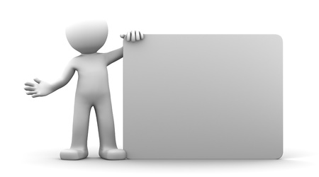 blank billboard: 3D-Charakter holding blank Billboard. Isoliert Lizenzfreie Bilder