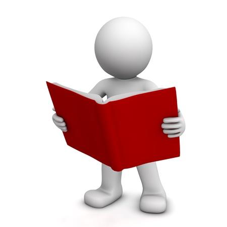lezing: 3D teken lezing boek geïsoleerd op wit Stockfoto