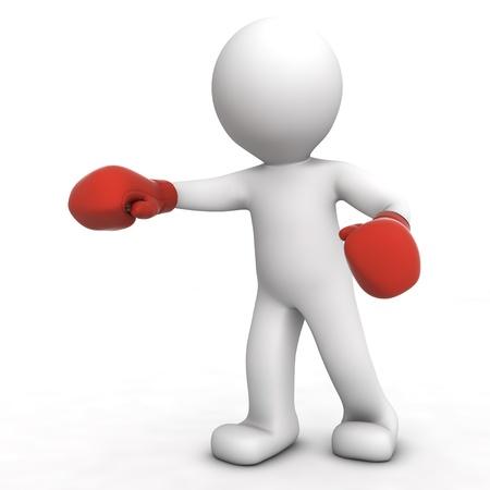 marioneta: boxeador 3D aislado en blanco