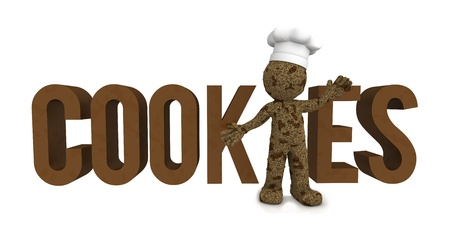 Happy 3d baker textured as chocolate cookie. Isolated photo