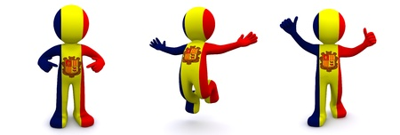 3d character textured with flag of Andorra isolated on white background photo