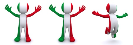 italia: 3d character textured with flag of Italy isolated on white background