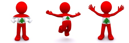 3d character textured with flag of Lebanon isolated on white background photo