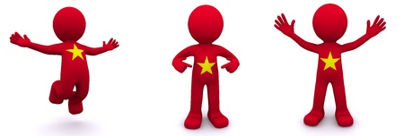 vietnam: 3d character textured with flag of Vietnam isolated on white background