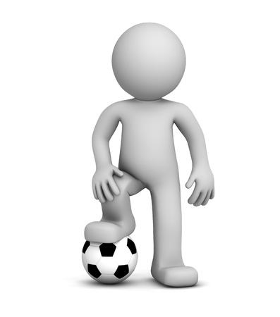 footballer: 3d football player. Isolated