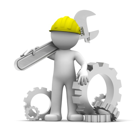 herramientas de mec�nica: Trabajador Industrial 3D con llave y engranajes. Ilustraci�n conceptual. Aislados en blanco
